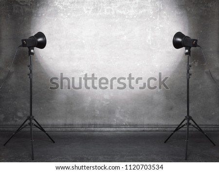 photo studio in old grunge room with concrete wall, urban background #1120703534