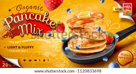 Delicious fluffy pancake in frying pan, fresh fruit and honey toppings in 3d illustration, food ad banner or poster #1120833698