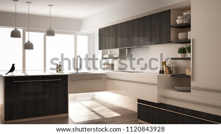 Modern minimalistic wooden kitchen with parquet floor, carpet and panoramic window, white and gray architecture interior design, 3d illustration #1120843928
