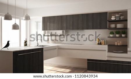 Modern minimalistic wooden kitchen with parquet floor, carpet and panoramic window, white and gray architecture interior design, 3d illustration #1120843934