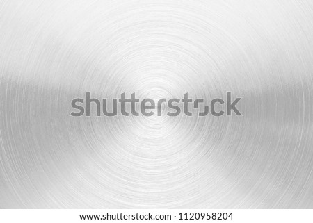 Stainless steel aluminum circular brushed metal texture background circle shape silver color photo object design hi resolution