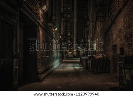 Dark alley, Chicago Royalty-Free Stock Photo #1120999940