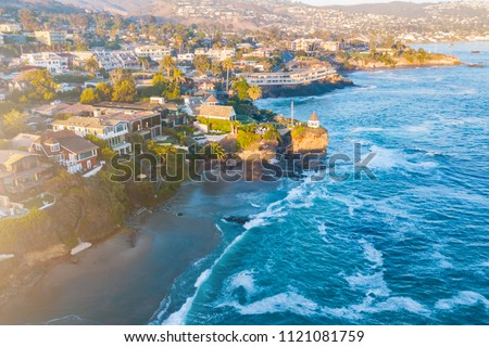 California Coastline at sunset. Aerial view. Houses on the coast in California, USA #1121081759