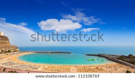 Amadores aqua beach in Gran Canaria at Canary Islands Royalty-Free Stock Photo #112108769