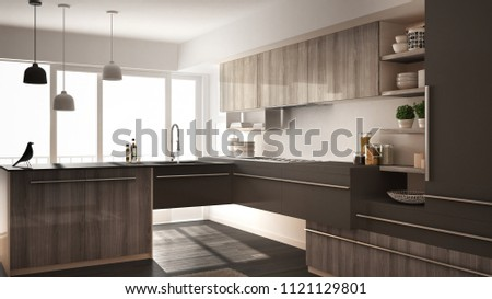 Modern minimalistic wooden kitchen with parquet floor, carpet and panoramic window, white and gray architecture interior design, 3d illustration #1121129801