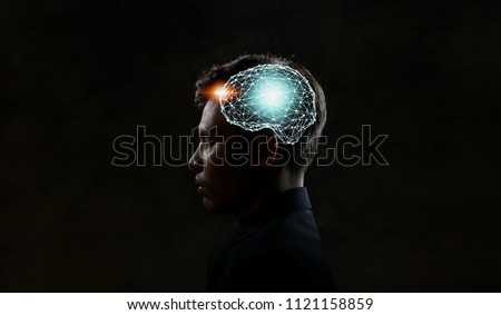 Human head and brain.Artificial Intelligence, AI Technology, thinking concept. #1121158859