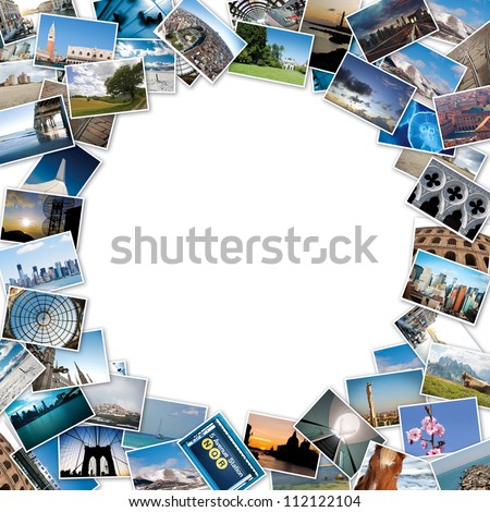Round stack of travel images from the world with copy space in the center.
