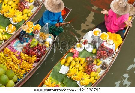 floating market in thailand #1121326793