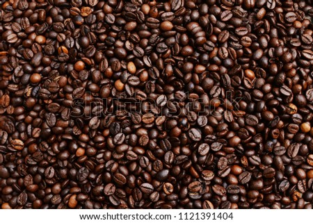 beautiful background with whole grains beans flavored coffee for restaurant and menu advertising #1121391404
