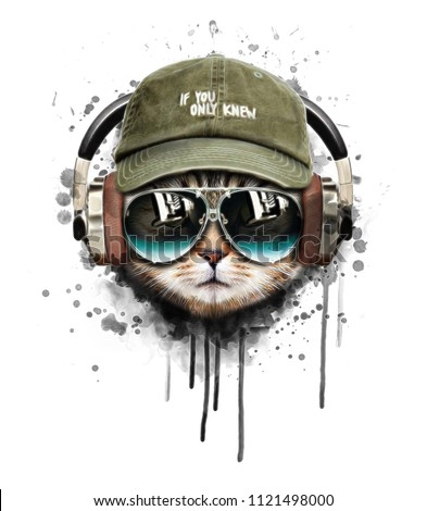 Watercolor cat listening a music illustration.T shirt graphics.Custom print design for all types of surfaces.