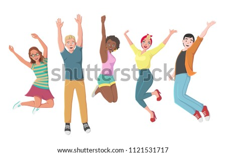 A Group of Happy People Jumping in Casual Clothes on a White Background. The Concept of Friendship, Healthy Lifestyle, Success, Achievement, Event. Illustration in a Cartoon Style #1121531717