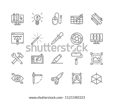 Set of Graphic tools outline icons isolated on white background. Editable Stroke. 64x64 Pixel Perfect. #1121580323