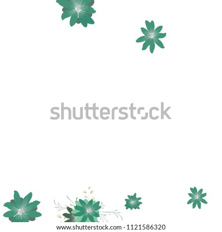 Small Daisy Flowers. Cute Small Daisies on White Background. Vector Texture for Print, Card, Poster. Trendy Natural Ground in Vintage Style. #1121586320
