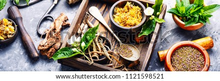 Natural herbal medicine,medicinal herbs and herbal medicinal root.Natural herbs medicine.Healing herbs #1121598521