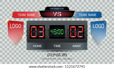 Digital timing scoreboard, Football match team A vs team B, Strategy broadcast graphic template for presentation score or game results display (EPS10 vector fully editable, resizable and color change) #1121672741