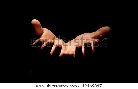 Praying Hands in black background #112169897