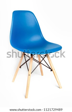 Blue modern chair with wooden legs isolated on white background #1121729489