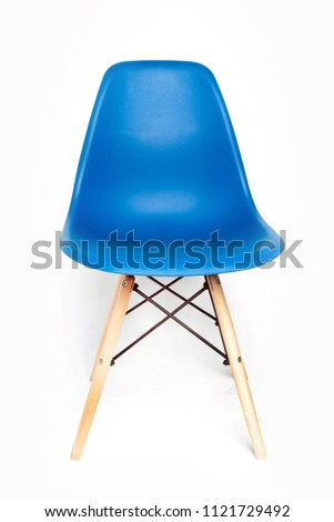 Blue modern chair with wooden legs isolated on white background #1121729492