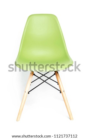 Green modern chair with wooden legs isolated on white background #1121737112