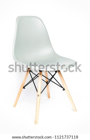 Gray modern chair with wooden legs isolated on white background #1121737118