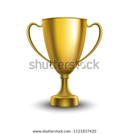 Winner cup isolated. Golden trophy on white  background. Vector illustration.  #1121837420