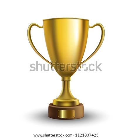Winner cup isolated. Golden trophy on white  background. Vector illustration.  #1121837423