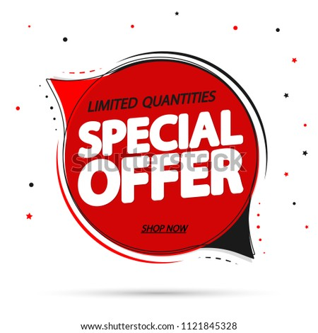 Special Offer, sale tag design template, app icon, speech bubble banner, vector illustration #1121845328