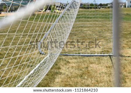 soccer net, side view, soccer background #1121864210