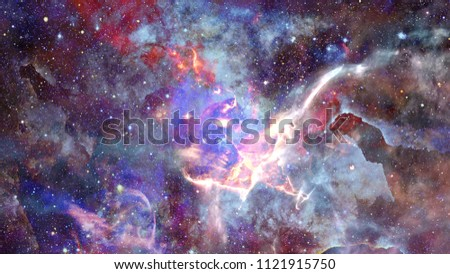 Beautiful nebula and Galaxy. Elements of this Image Furnished by NASA. #1121915750