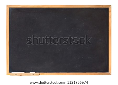 blank blackboard with wooden frame and chalk - empty chalkboard isolated with clipping path #1121955674