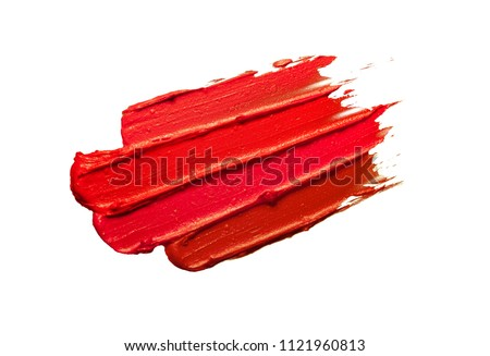 Multicoloured lipstick smudge black isolated background #1121960813
