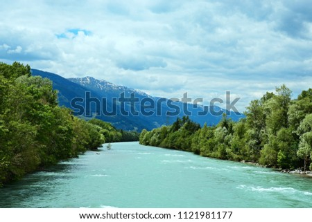 Austrian Alps-view on the river Drava #1121981177
