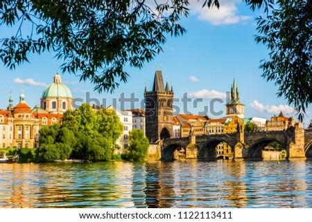 PRAGUE, CZECH REPUBLIC - JUNE 25,2016: Charles Bridge and Vltava River at Prague, Czech Republic. #1122113411