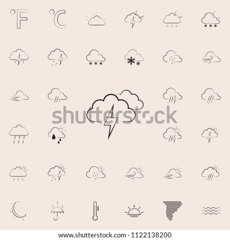 cloud sign with thunder-storm icon. Detailed set of Weather icons. Premium quality graphic design sign. One of the collection icons for websites, web design, mobile app on colored background #1122138200