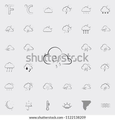sign of rainy weather icon. Detailed set of Weather icons. Premium quality graphic design sign. One of the collection icons for websites, web design, mobile app on colored background #1122138209