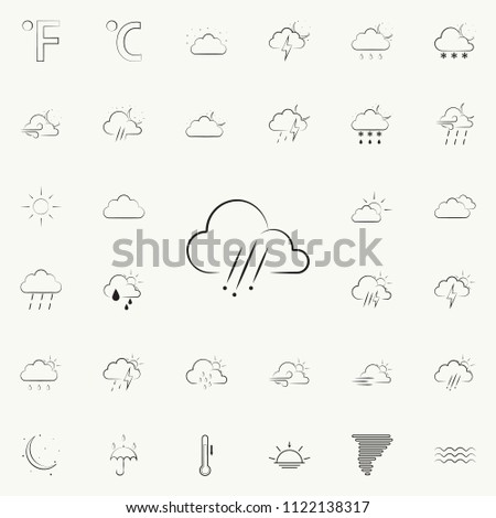 weather sign of rain with hail icon. Detailed set of Weather icons. Premium quality graphic design sign. One of the collection icons for websites, web design, mobile app on colored background #1122138317