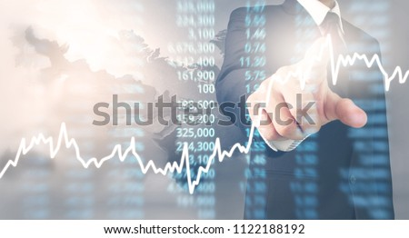 Analysing illustrated chart stock market financial data on a screen #1122188192