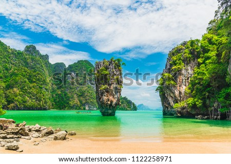 Amazing natural landscape of James Bond island Phang-Nga bay, Water tours travel adventure nature Phuket Thailand, Tourism beautiful destination famous place Asia, Summer holiday vacation travel trip #1122258971