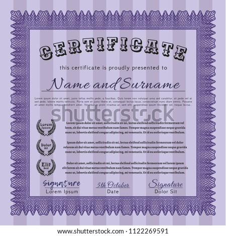 Violet Sample Diploma. Complex background. Customizable, Easy to edit and change colors. Good design.  #1122269591