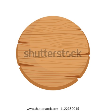Flat vector icon of round wooden signboard with natural texture and cracks. Blank wood signboard with space for your text #1122350015