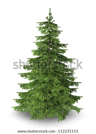 Christmas tree on pure white background with clipping path included. #112235153