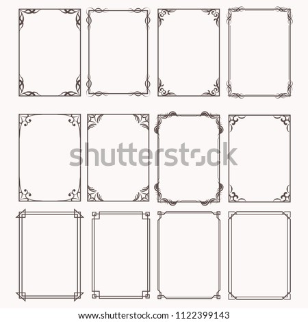 Decorative frames and borders rectangle proportions set #1122399143