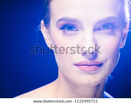 Woman night lights party glamour fashion portrait beautiful female #1122490751