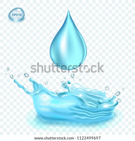 Transparent vector water splash and water drop on light background #1122499697