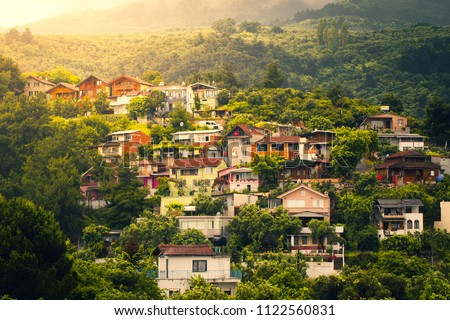 Village houses on mountain slopes. Uludag, Bursa. #1122560831