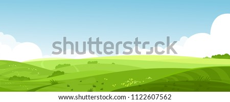 Vector illustration of beautiful summer fields landscape with a dawn, green hills, bright color blue sky, country background in flat cartoon style banner. Royalty-Free Stock Photo #1122607562