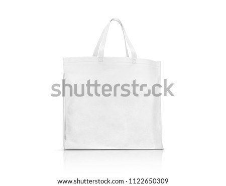 blank white fabric canvas bag for shopping and save global warming isolated on white background with clipping path #1122650309