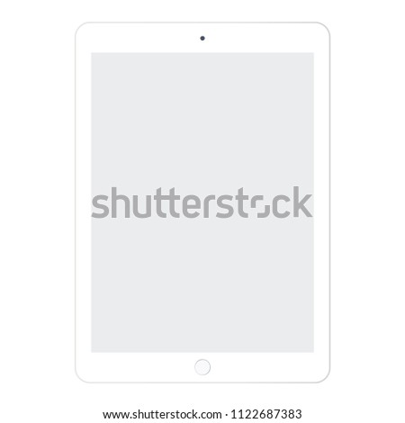 White tablet with grey screen. Tablet   eps10 vector. Grey screen tablet sign for web design. #1122687383