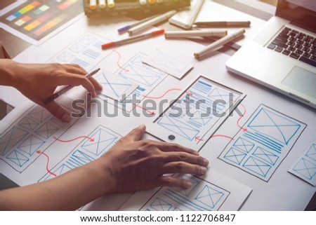 ux Graphic designer creative  sketch planning application process development prototype wireframe for web mobile phone . User experience concept. #1122706847