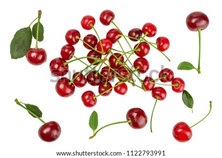 Cherries isolated on white background. Top view. #1122793991